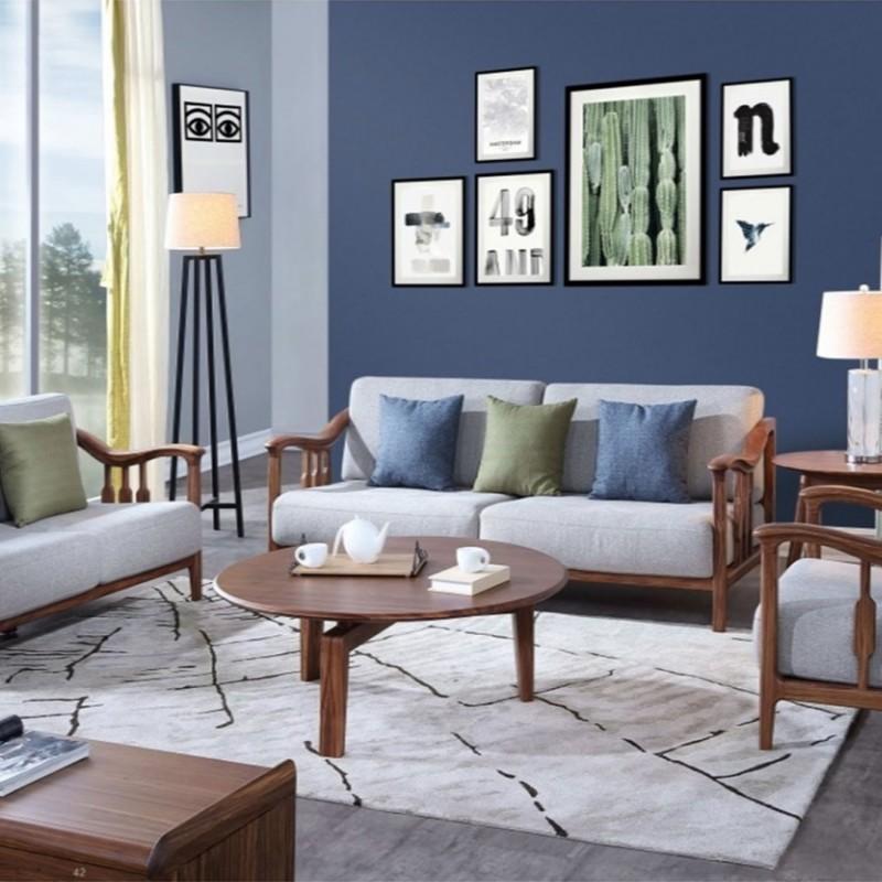美林仕家朗博系列北欧风客厅沙发组合茶几圆几-HL703