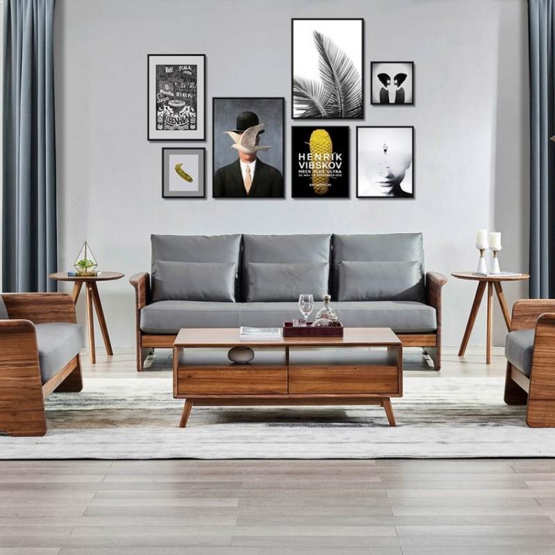 美林仕家朗博系列北欧风客厅沙发组合茶几圆几斗柜-HL720+826