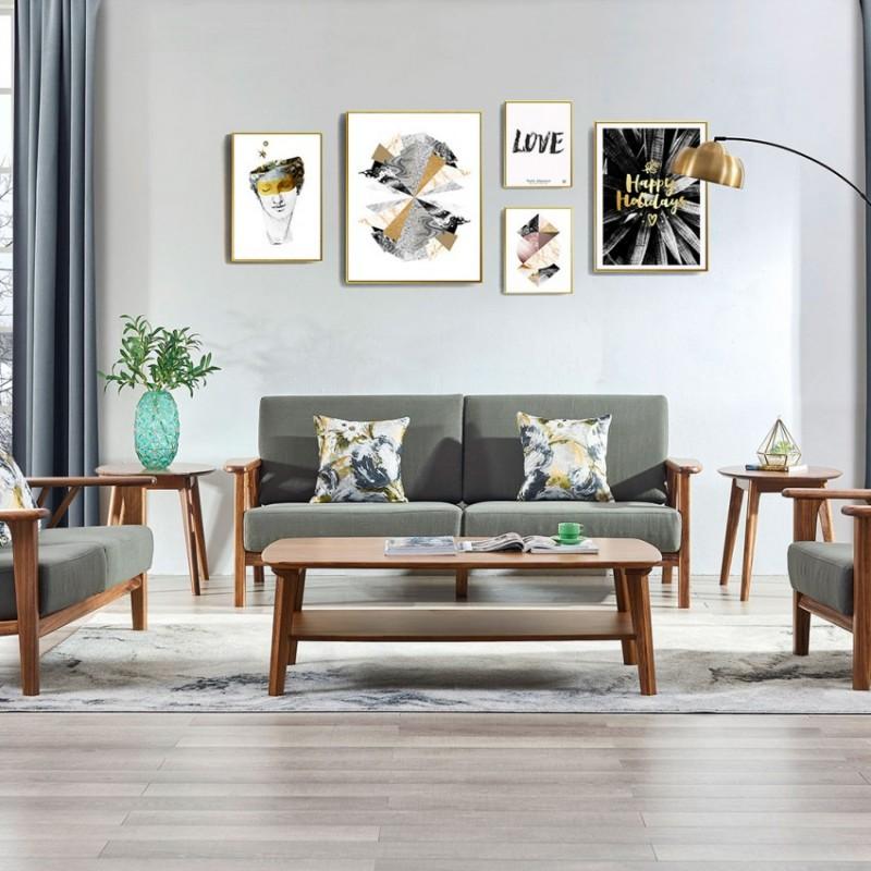 美林仕家朗博系列北欧风客厅沙发组合茶几圆几斗柜-HL702+819