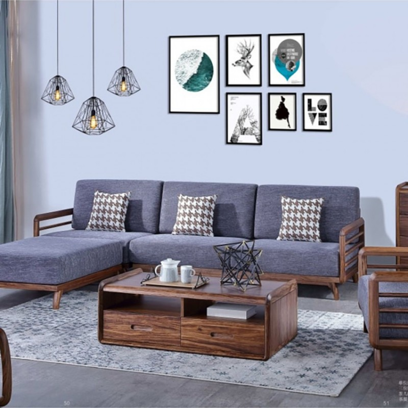 美林仕家朗博系列北欧风客厅沙发组合茶几圆几斗柜-HL703+204