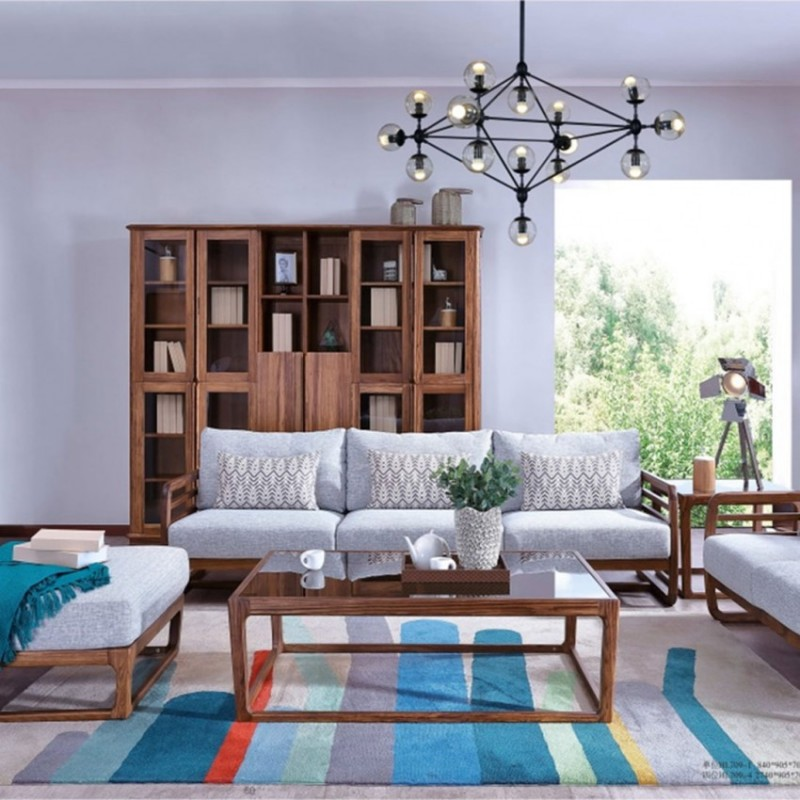 美林仕家朗博系列北欧风客厅沙发组合茶几圆几斗柜-HL709+815+820