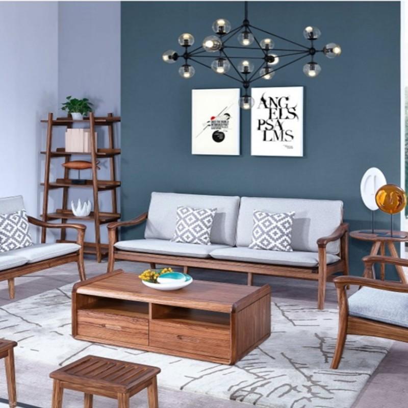 美林仕家朗博系列北欧风客厅沙发组合茶几圆几斗柜-HL706+802+2023