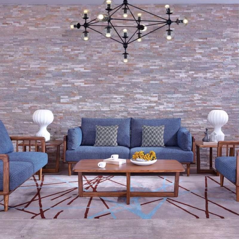 美林仕家朗博系列北欧风客厅沙发组合茶几圆几-HL710+803
