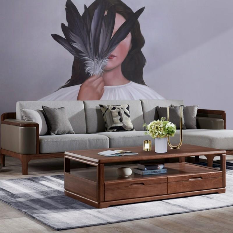 美林仕家朗博系列北欧风客厅沙发组合茶几圆几