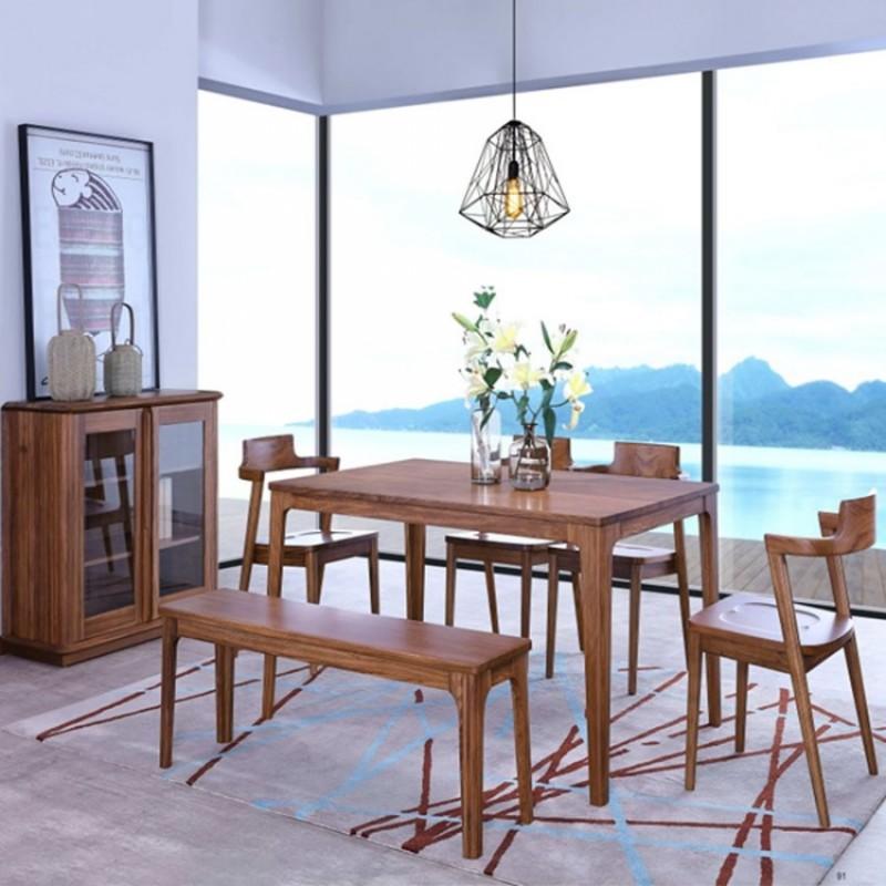 美林仕家朗博系列北欧风餐厅餐桌椅餐边柜餐凳HL415+401