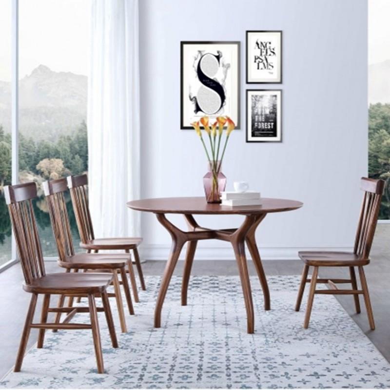 美林仕家朗博系列餐厅餐桌椅餐边柜圆餐台HL301+422