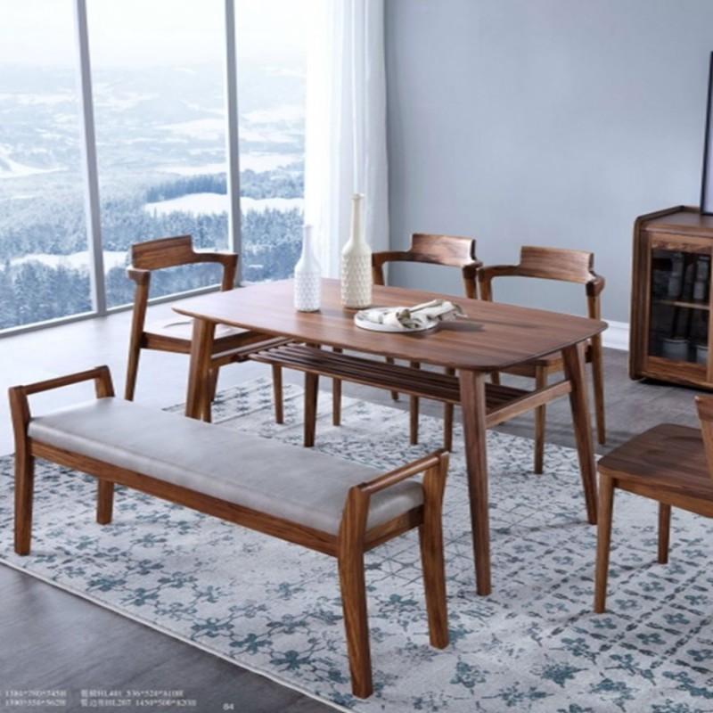 美林仕家朗博系列北欧风餐厅餐桌椅餐边柜餐凳HL405+401+305