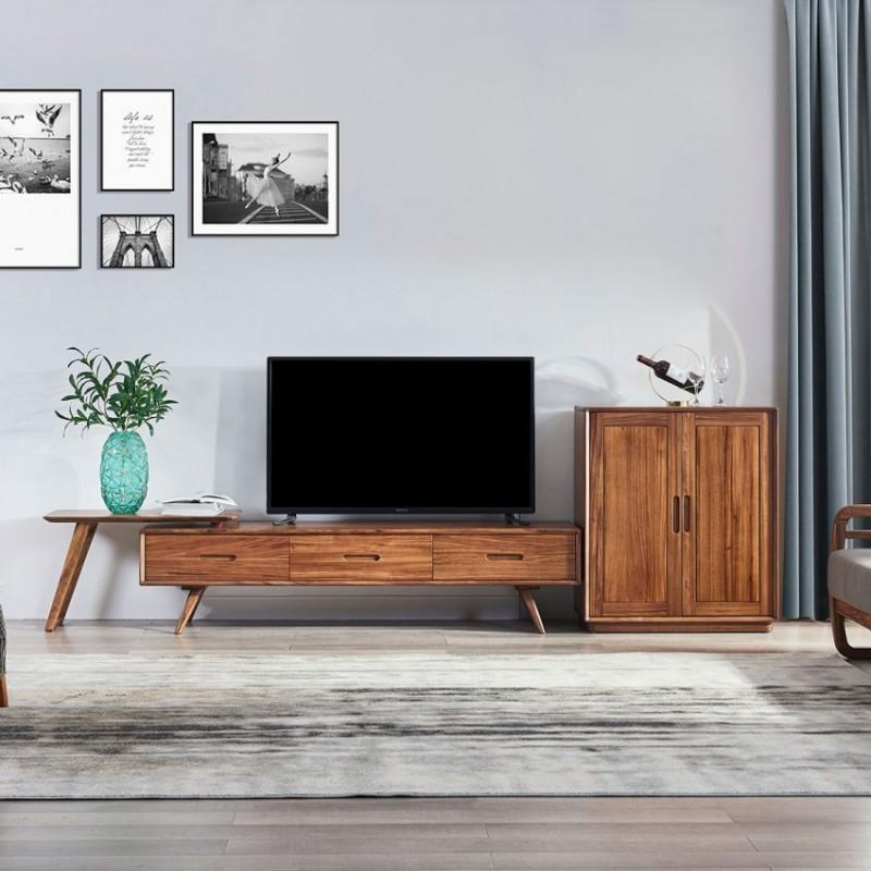 美林仕家朗博系列北欧风客厅电视柜组合柜边柜装饰柜B客厅4-HL2019+HL2021-地柜1.8米+搭架+2038