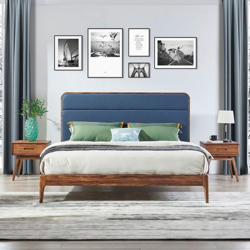 美林仕家朗博系列北欧风卧室实木大床床头柜床尾凳HL112