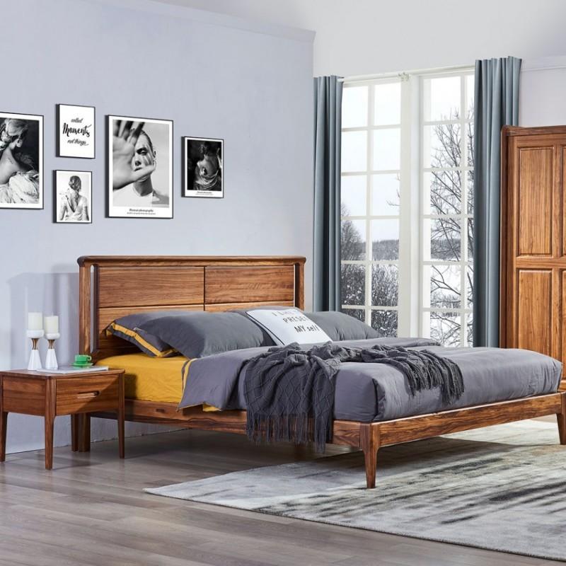 美林仕家朗博系列北欧风卧室实木大床床头柜床尾凳衣柜HL109+225