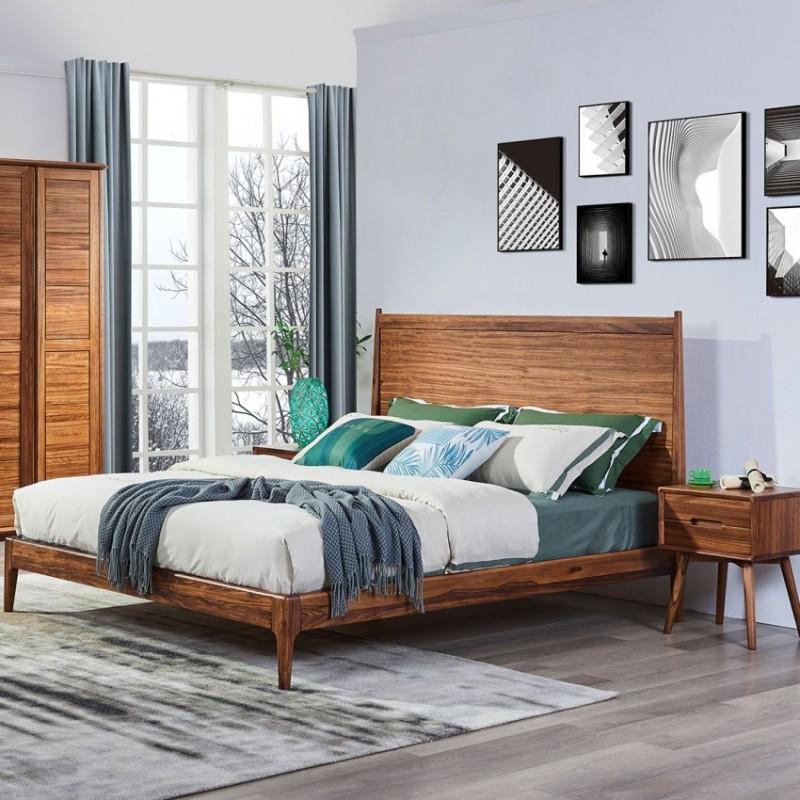美林仕家朗博系列北欧风卧室实木大床床头柜床尾凳衣柜HL118+228
