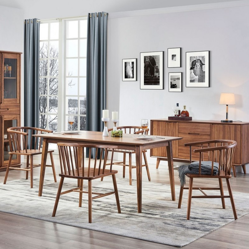 美林仕家朗博系列北欧风餐厅餐桌椅餐边柜酒柜HL309+421+2035+2015