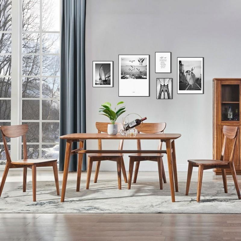 美林仕家朗博系列北欧风餐厅餐桌椅餐边柜酒柜HL303+420+2011