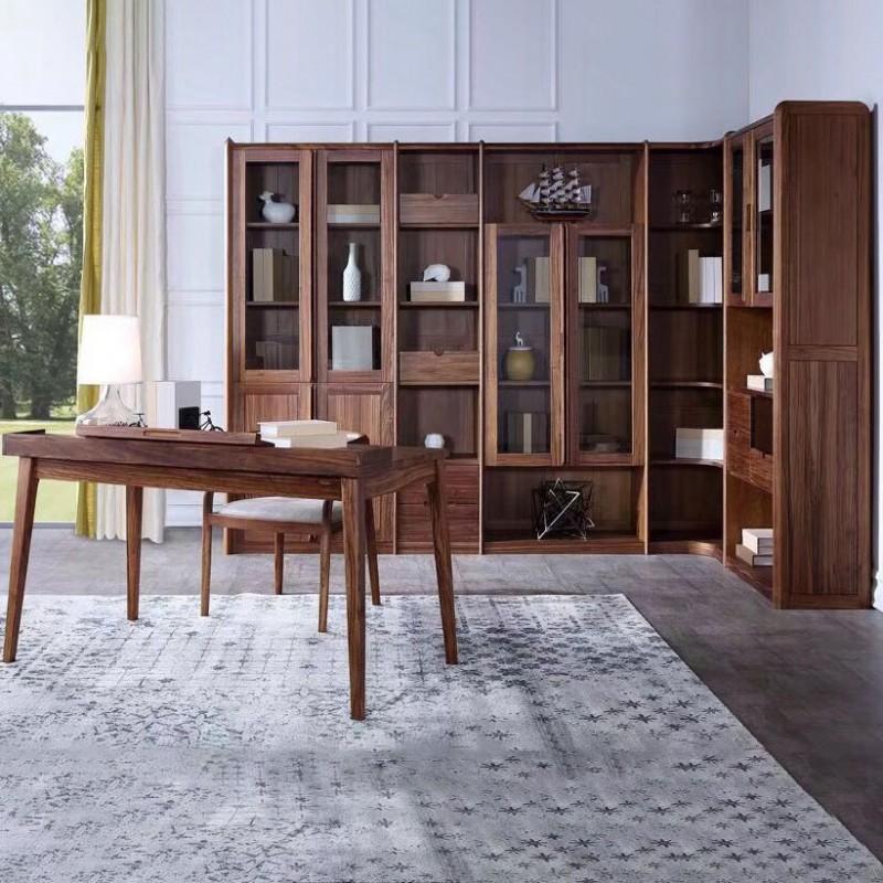 美林仕家朗博系列北欧风书房书桌椅转角书柜书架HL307+408+502