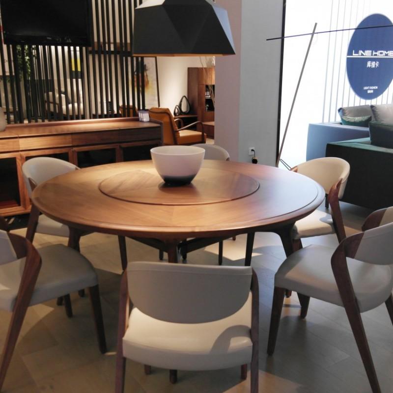 库维卡北欧风实木家具餐厅餐桌椅圆餐台