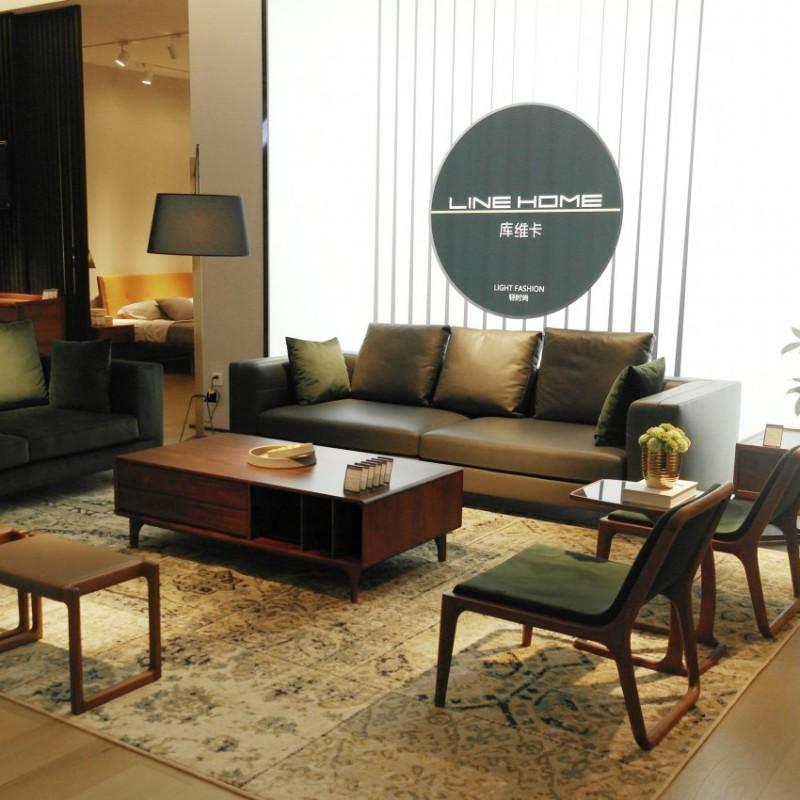 库维卡北欧风实木家具客厅沙发组合茶几角几