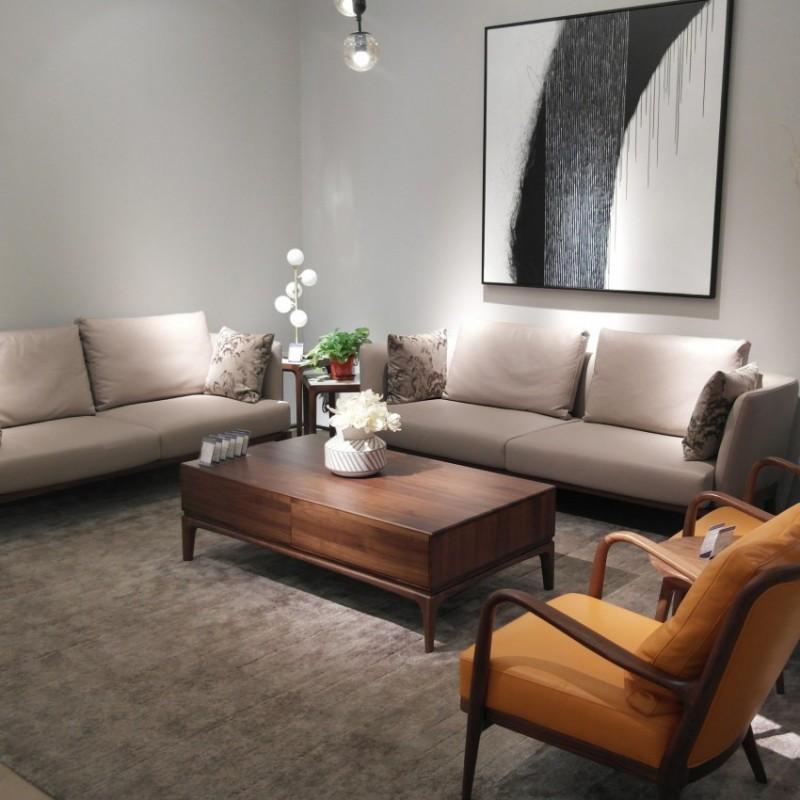 库维卡北欧风实木家具客厅沙发组合茶几角几2