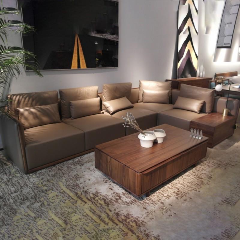 库维卡北欧风实木家具客厅沙发组合茶几角几3