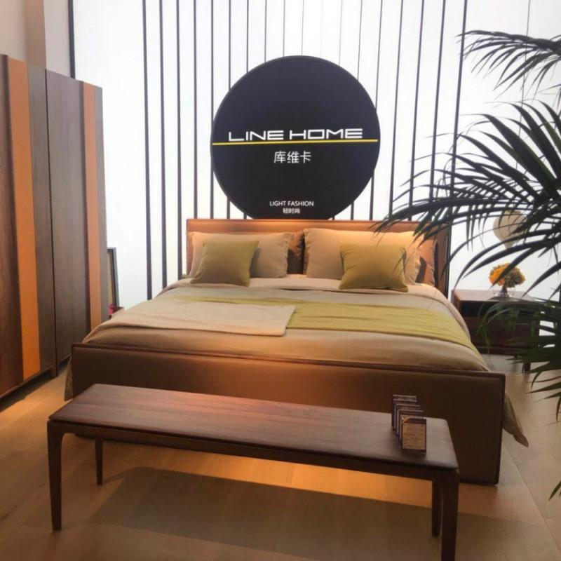 库维卡北欧风实木家具卧室大床床头柜衣柜