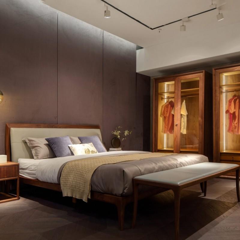 库维卡北欧风实木家具卧室大床床头柜衣柜1