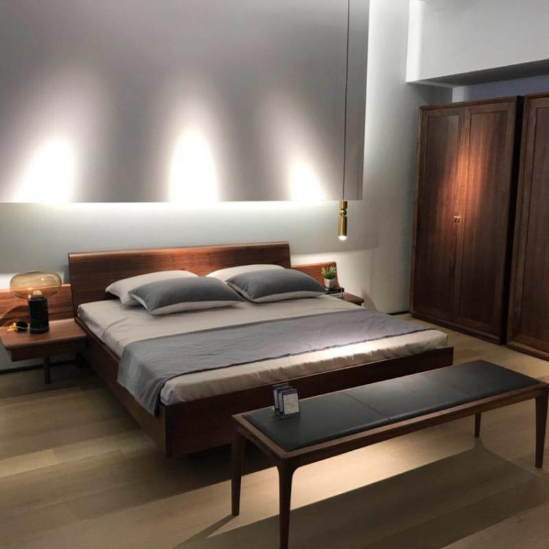 库维卡北欧风实木家具卧室大床床头柜衣柜2