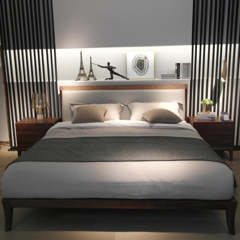 库维卡北欧风实木家具卧室大床床头柜衣柜3