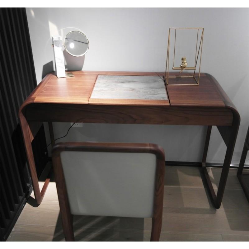 库维卡北欧风实木家具卧室梳妆台妆凳