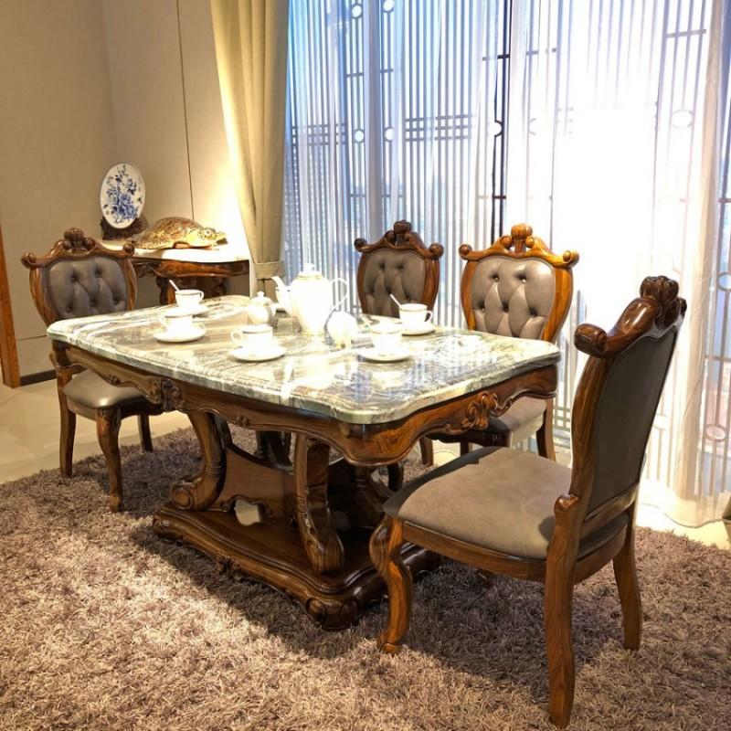 别墅餐厅乌金木理石面餐桌椅CZ-02