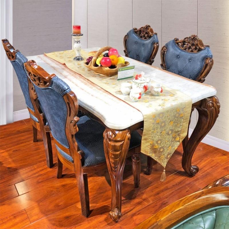 乌金木雕刻长餐桌餐椅CZ-03