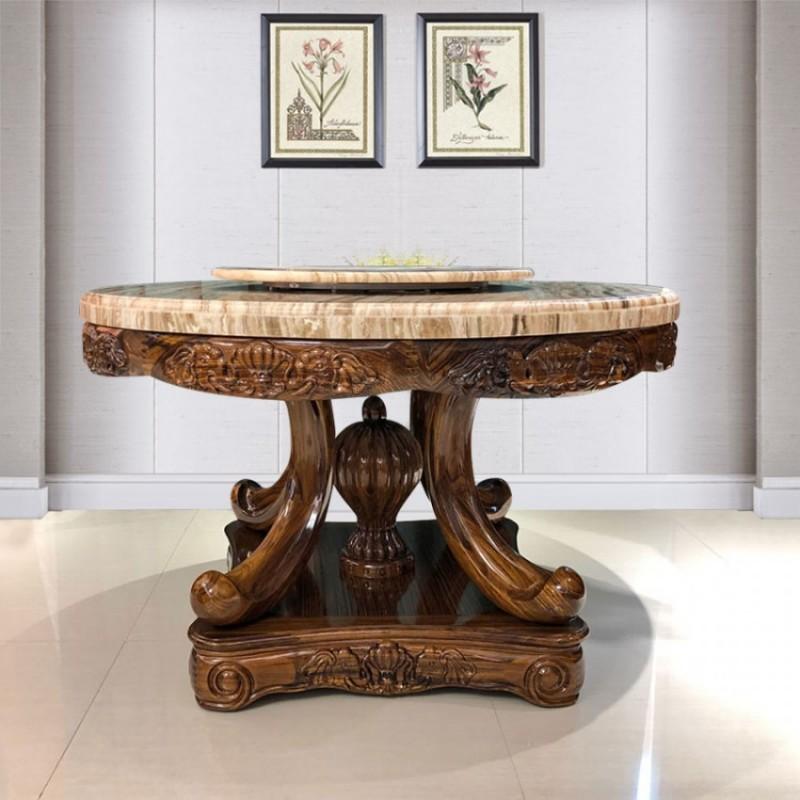 家用乌金木理石面圆桌带转盘CZ-06