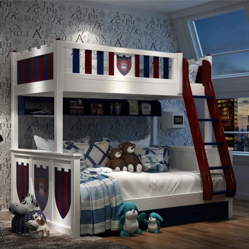 七彩人生男童带楼梯上下铺 男童卧室上下铺_骑士城堡扶梯款