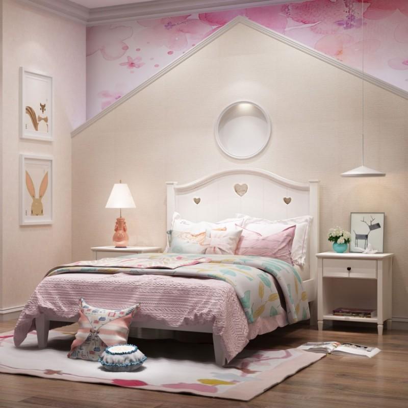 七彩人生女孩套房单人床床头柜边柜衣帽架-安蒂