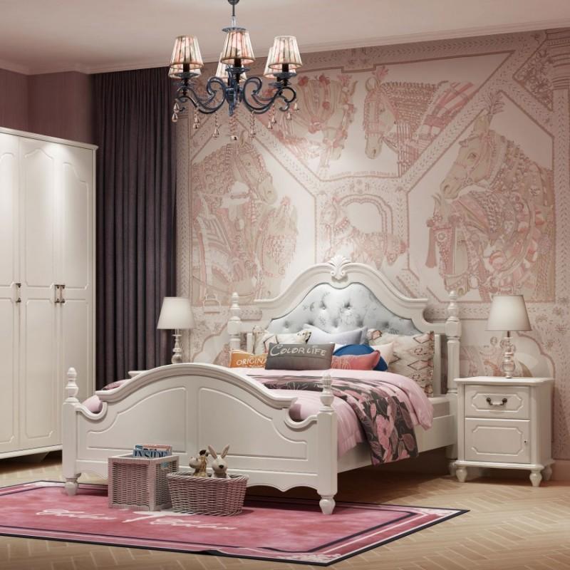 七彩人生女孩套房单人床床头柜边柜衣柜学习桌书桌-布拉格城