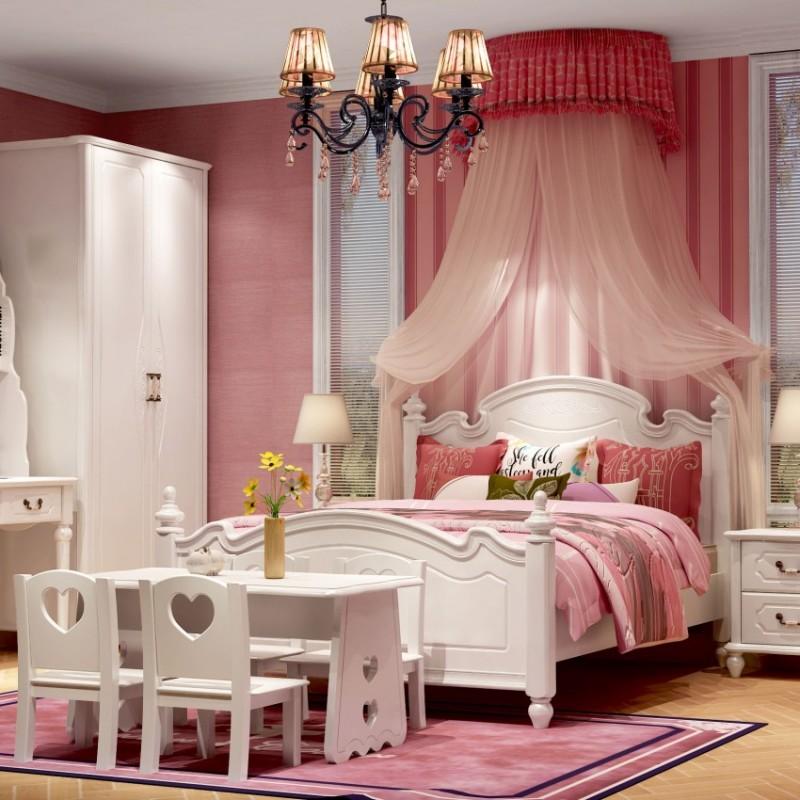 七彩人生女孩套房单人床床头柜边柜衣柜学习桌书桌-钢琴之夜