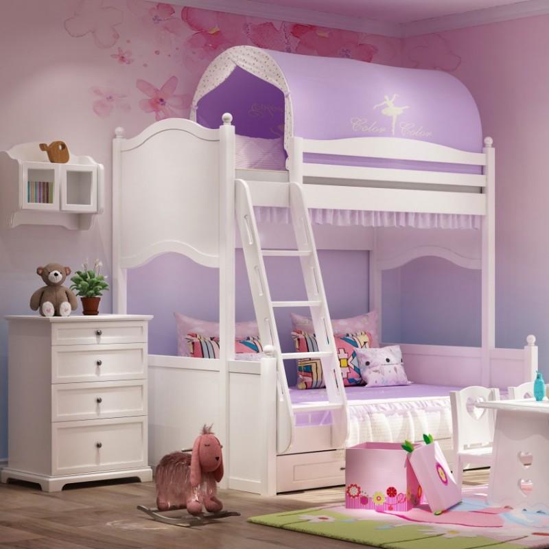 七彩人生女孩套房上下床床头柜边柜衣柜学习桌书桌-海的女儿第二扶梯款
