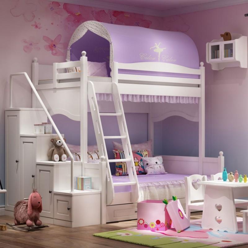 七彩人生女孩套房上下床床头柜边柜衣柜学习桌书桌-海的女儿第一梯柜款