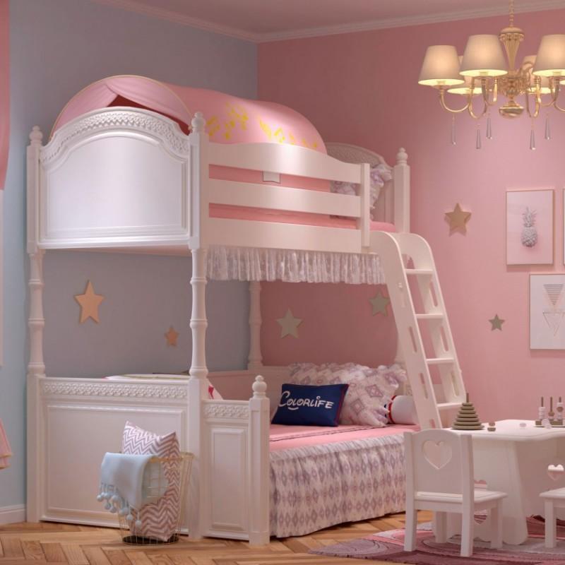 七彩人生女孩套房上下床床头柜边柜衣柜学习桌书桌-卡梅尔小镇