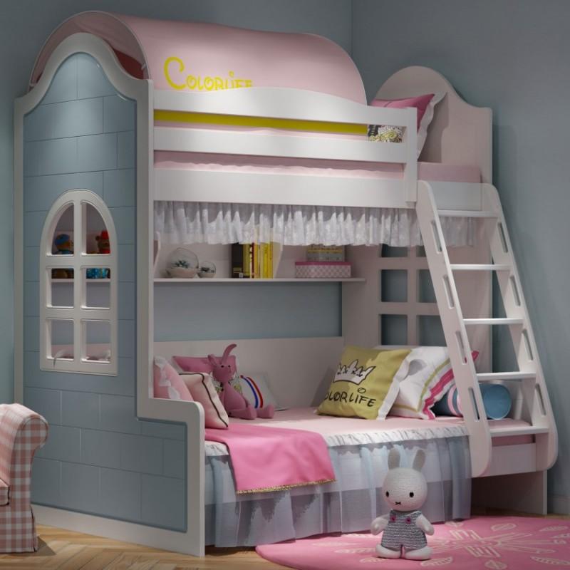 七彩人生儿童套房上下床床头柜边柜衣柜学习桌书桌-麦吉小屋