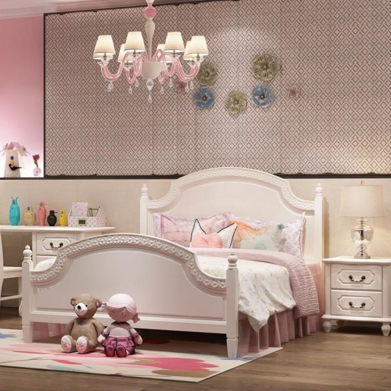 七彩人生儿童套房单人床床头柜边柜衣柜学习桌书桌-象牙塔套房