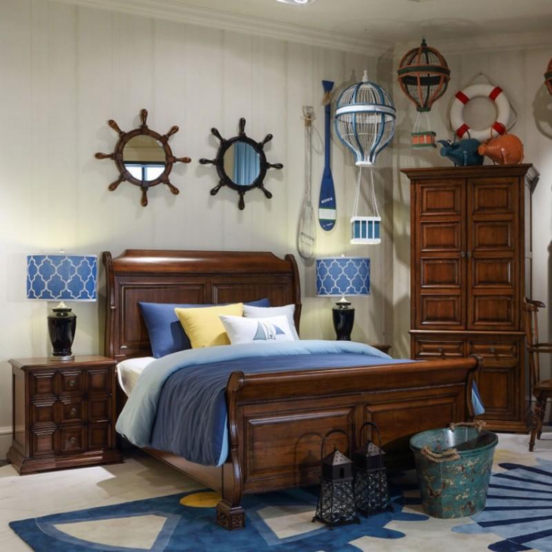 七彩人生实木儿童单人床床头柜衣柜学习桌书桌-皇家加勒比