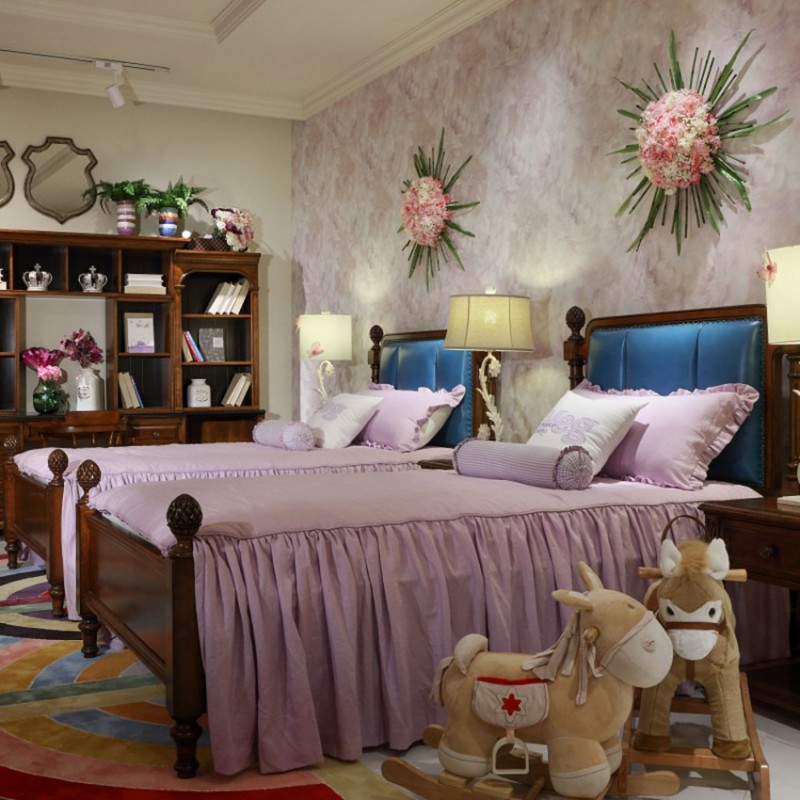 七彩人生实木儿童单人床床头柜衣柜学习桌书桌-美国之梦