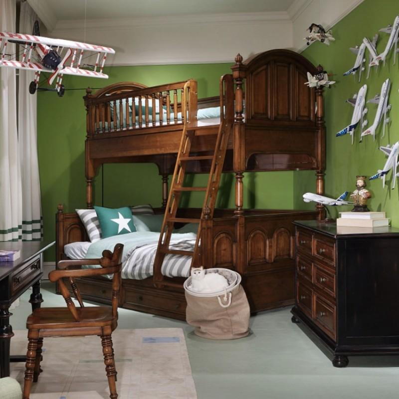 七彩人生实木儿童上下床床头柜衣柜学习桌书桌-摩尔庄园