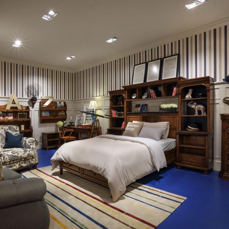 七彩人生实木儿童单人床床头柜衣柜学习桌书桌-汤姆小屋