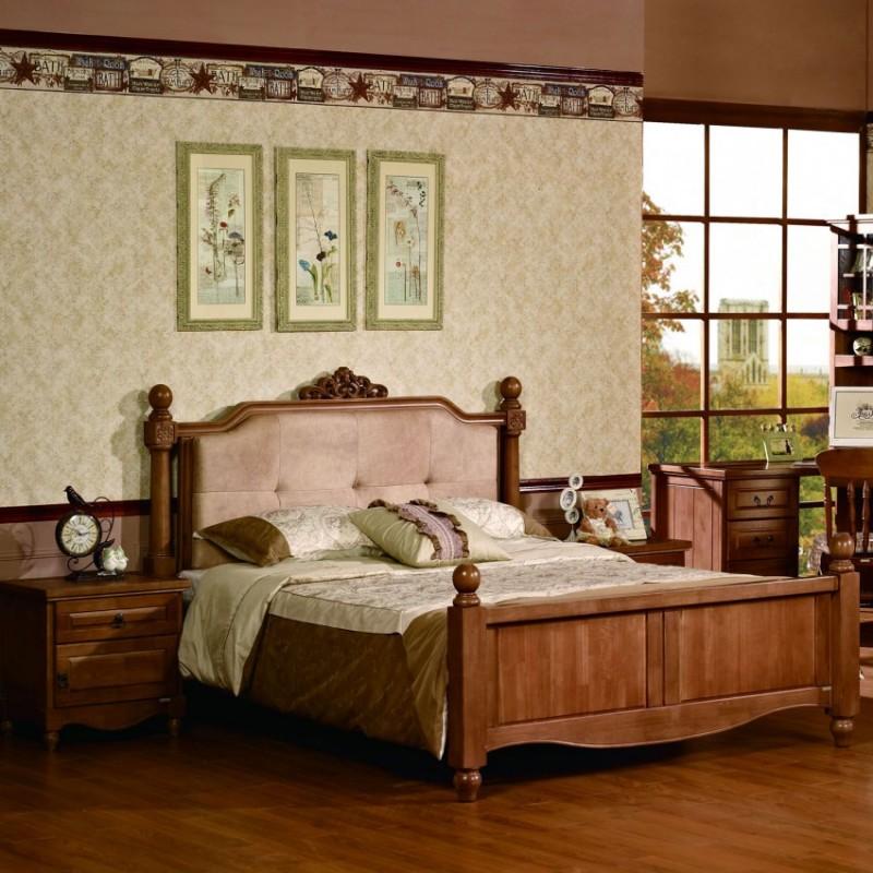 七彩人生实木儿童实木单人床床头柜衣柜学习桌-艾达