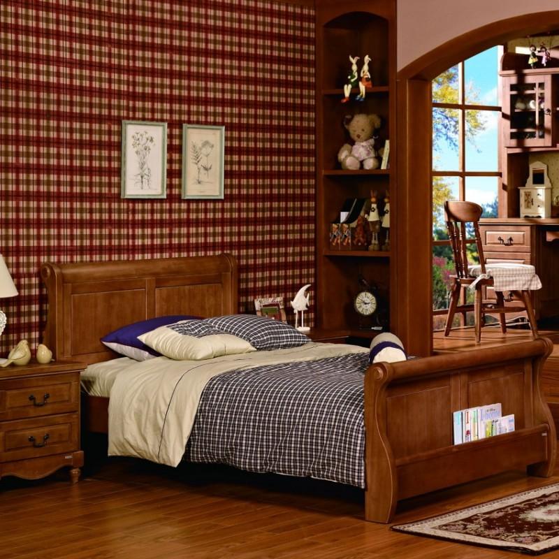 七彩人生实木儿童实木单人床床头柜衣柜学习桌-奥斯顿