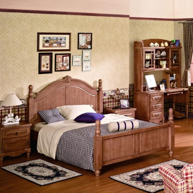 七彩人生实木儿童实木单人床床头柜衣柜学习桌-拜伯里