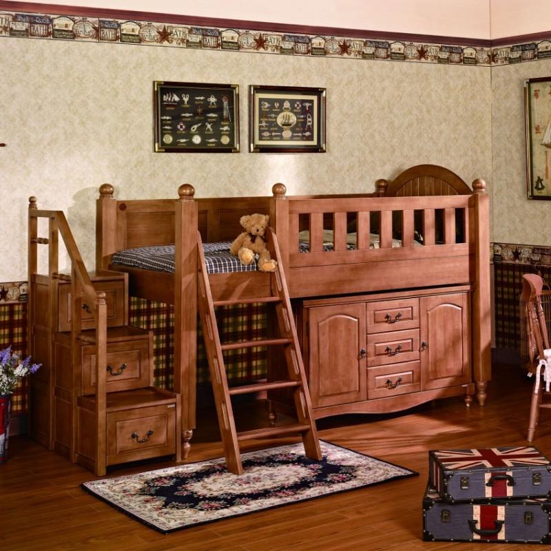 七彩人生实木儿童单人床高低床带书柜带扶梯斗柜-杰西