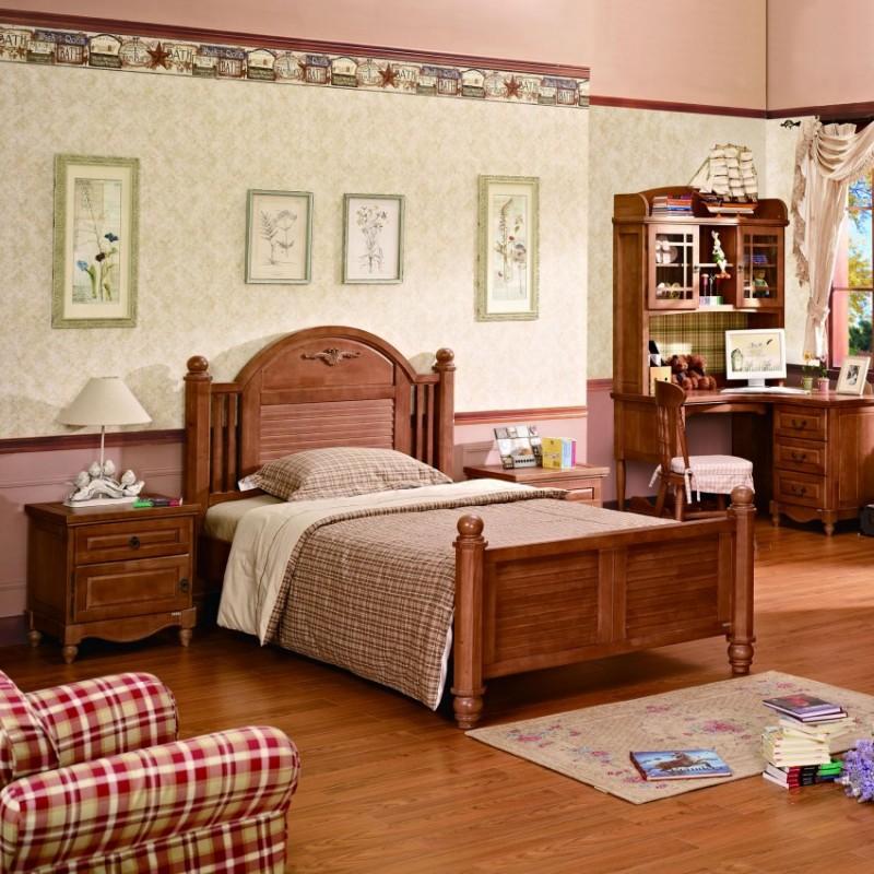 七彩人生实木儿童套房实木单人床床头柜衣柜学习桌-泰晤士小镇