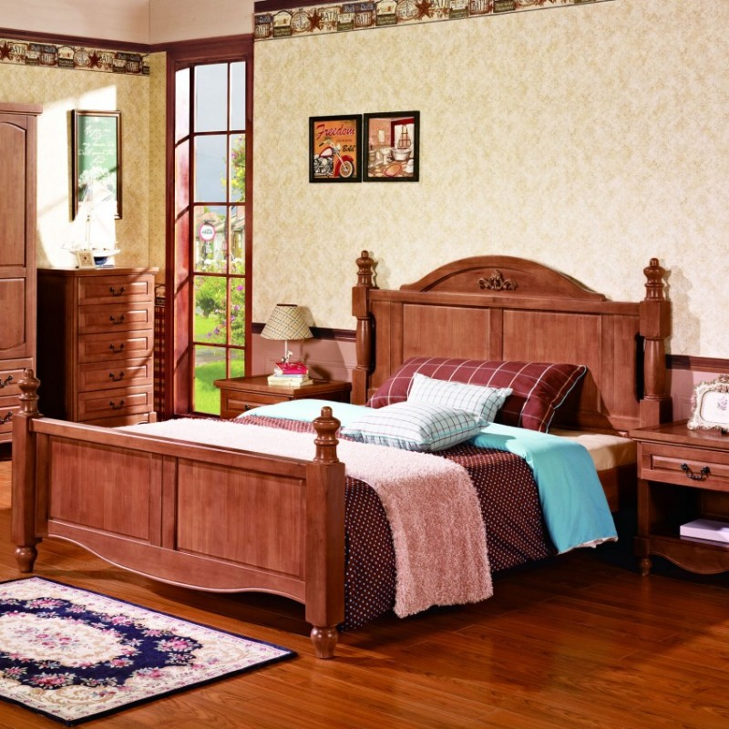 七彩人生实木儿童套房实木单人床床头柜衣柜学习桌-温彻斯特