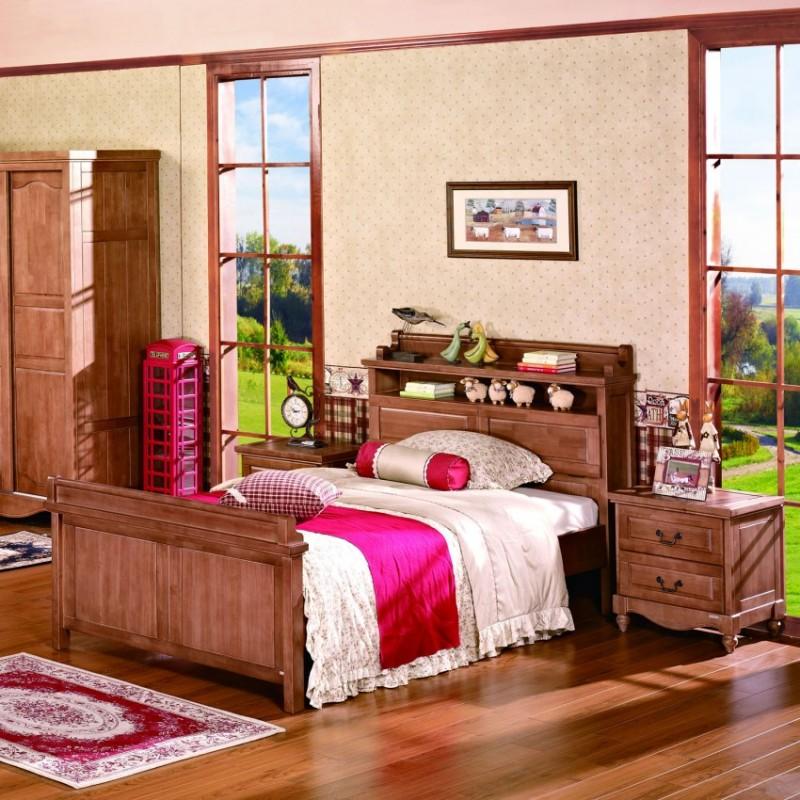 七彩人生实木儿童套房实木单人床床头柜衣柜学习桌-温克雷